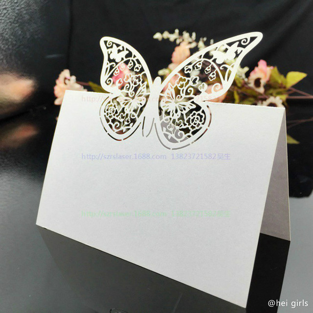 100pcsset hollow butterfly wedding invitations laser table name 100pcsset hollow butterfly wedding invitations laser table name card wedding decoration for business junglespirit Gallery