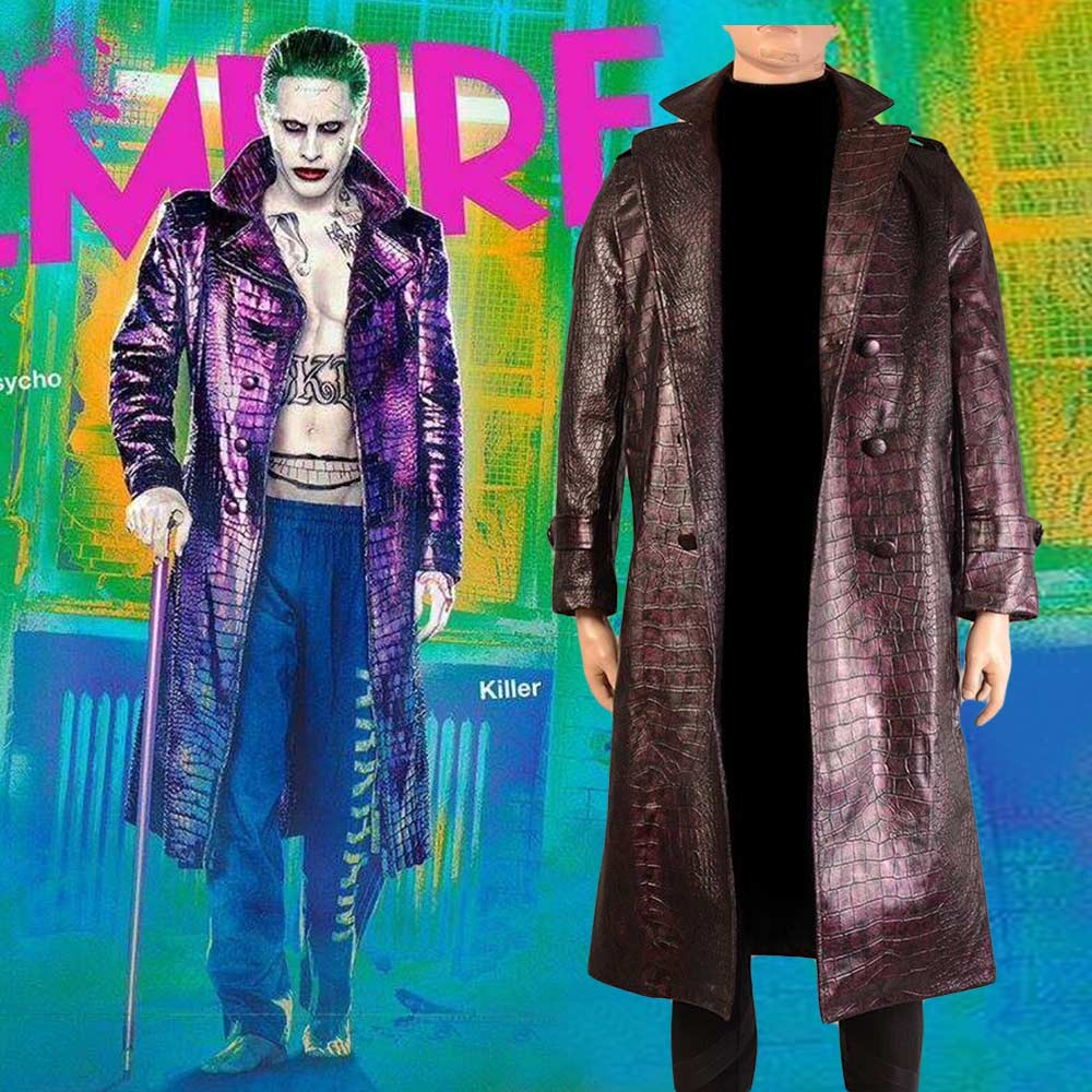 Jared Leto Joker Costume Suicide Squad Joker Cosplay Costume Trench Coat Jacket Batman Halloween Costumes Custom Made