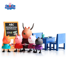 Genuine Peppa Pig Toys Classroom George Antelope Teacher Class Learning Early Educational Scene Action Figures Toy for Children peppa pig toys doll train car house scene building blocks action figures toys early learning educational toys birthday gift