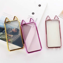 Cell Phone Cases For iPhone 5 5s SE 6 6s 6Plus 6s Plus Plated Cute Cat Ears TPU Silicone Transparent Phone Bag Capinha Coque