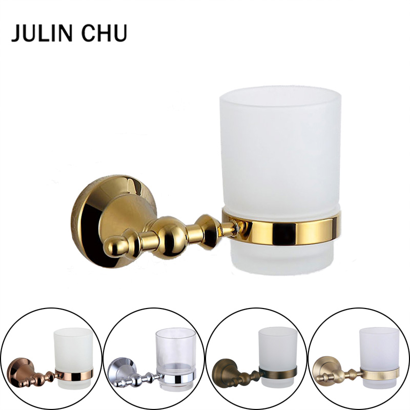 304 Stainless Steel and Copper Toothpaste Holder Bronze Rose Gold Glass Cup Tumbler Toothbrush Holders Chrome Bathroom Hardware toothbrush holder wall mounted square base 304 stainless steel and copper toothbrush holders with glass cups polished chrome