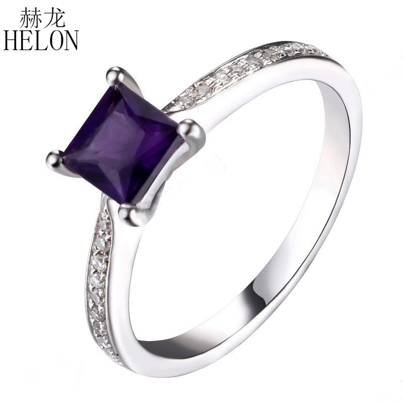 HELON Real 925 Sterling Silver Certified Cushion 100% Genuine Natural Amethyst Diamond Engagement Ring Women Trendy Fine JewelryHELON Real 925 Sterling Silver Certified Cushion 100% Genuine Natural Amethyst Diamond Engagement Ring Women Trendy Fine Jewelry