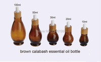 10ML 20ML 30ML 50ML 100ML Brown Calabash Bottle Glass Amber Essential Oil Packing Bottle With Bamboo