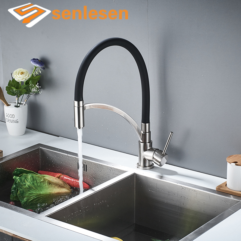 Senlesen Chrome/ Nickle Brushed Kitchen Faucet Single Handle Deck Mounted Hot and Cold Water Mixer Tap Para Kitchen Sink micoe hot and cold water basin faucet mixer single handle single hole modern style chrome tap square multi function m hc203