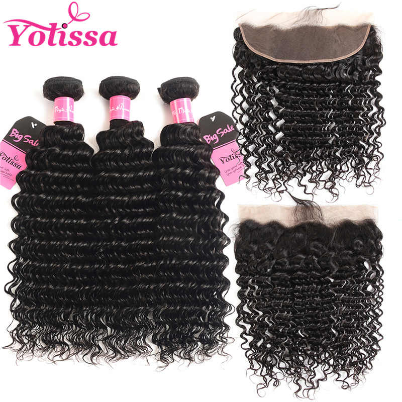 Yolissa Peruvian Deep Wave Bundles With Frontal Closure 100% Human Hair Bundles Natural Color Remy Hair Extensions