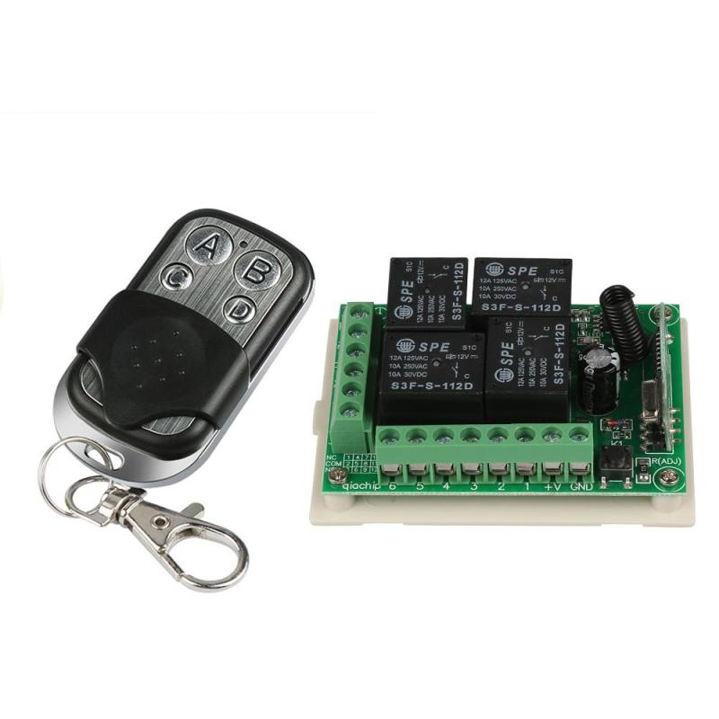 433Mhz Universal 12V 4CH Relay Wireless Remote Control Switch Receiver Learning Code 1527 Module and RF 433Mhz Transmitter Kit long range remote control switch dc 12v 1 ch 10a relay 4 receiver 1 transmitter learning code 315 433 4204