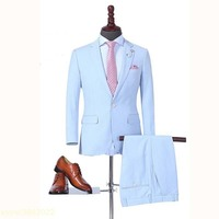 Custom made 2018 Spring Slim Fit Wedding Suits for Men Sky Blue Groom Mens Dinner Party Tuxedos Formal Office Prom Wear 2 Pieces