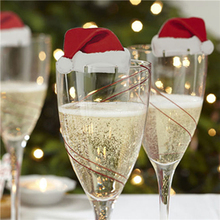 10pcs/lot Home Xmas Santa Claus Hats Champagne Glass Decor Paperboard Noel Navidad Christmas Decorations