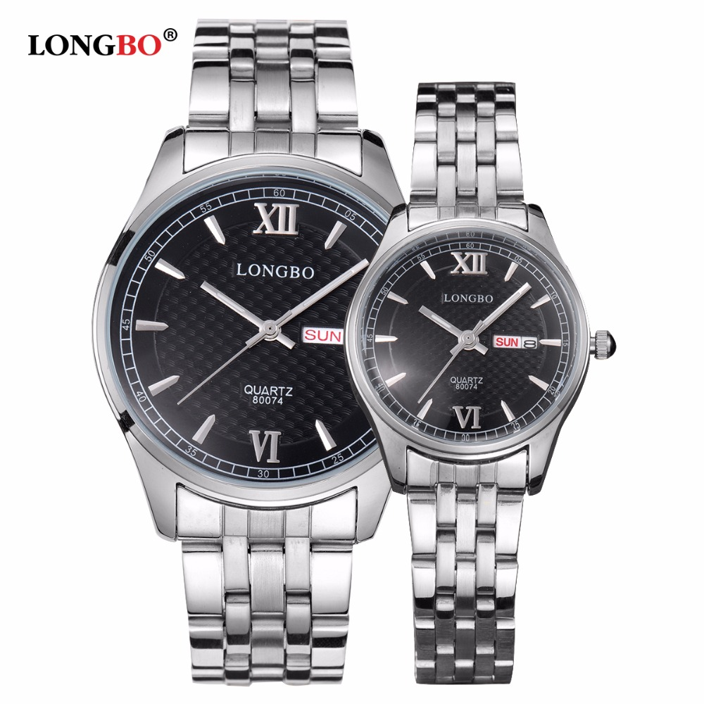 LONGBO Luxury Lovers Couple Watches Men Date Day Waterproof Women Gold Stainless Steel Quartz Wristwatch Montre Homme 80074
