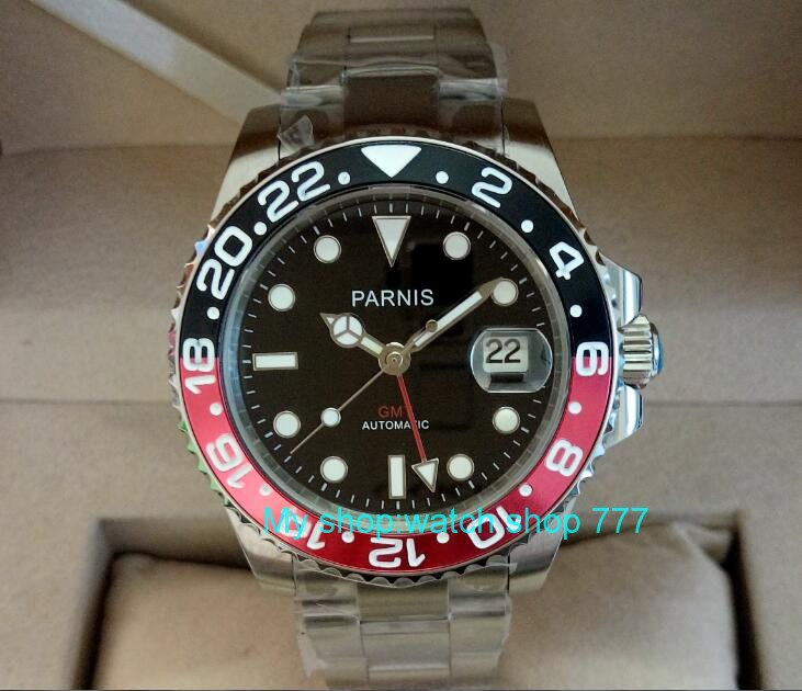 40mm PARNIS Sapphire Crystal Asian GMT Automatic machinery movement men's watch Red&Black rotateing bezel 429