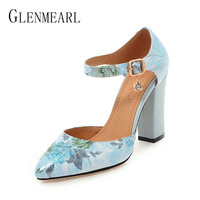 2018 Women Pumps High Heels Woman Shoes Brand Spring Pointed Toe Ankle Strap Pumps Flower Thick
