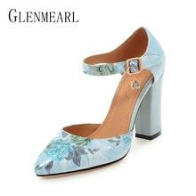 2018 Gratë Pompa Këpucë Femra me takë të lartë Marka Pranvera Peptë Këpucësh me kyçin e këmbës Këpucë dasme të trasha Lule këpucë dasme të trasha Plus Size 45