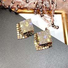 Fyuan блестящие геометрические серьги гвоздики для женщин и