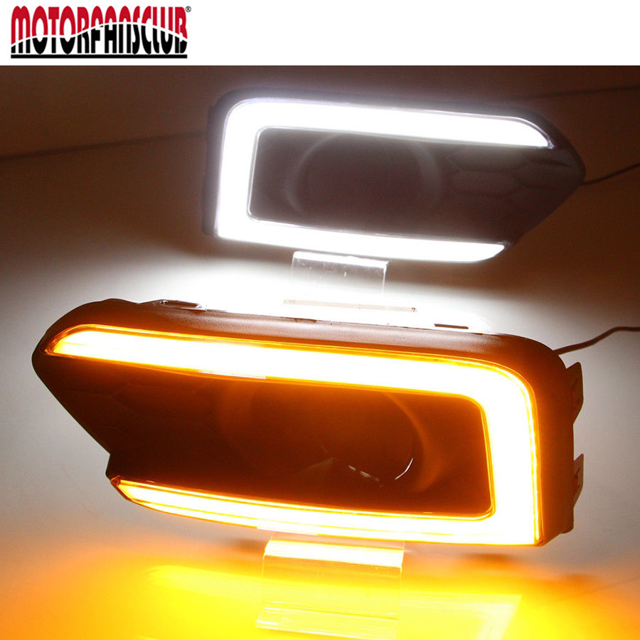 DRL Daytime Running Light With Turn Signal Light Headlight Fog Lights Led Car Day Light FOR HONDA CITY 2017 2018 qvvcev 2pcs new car led fog lamps 60w 9005 hb3 auto foglight drl headlight daytime running light lamp bulb pure white dc12v