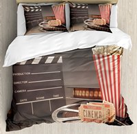 Movie Theater Duvet Cover Set Old Fashion Entertainment Objects Related to Cinema Film Reel Motion Picture Bedding Set