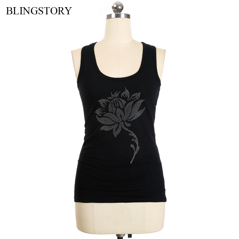 BLINGSTORY 6xl Plus Size Wome Top Tees O-neck Women Summer Clothes Basic Diamond Tank Tops XXXXXL LP4999026