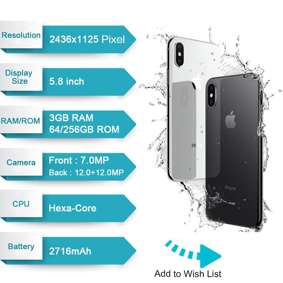 """Original apple iphone x 3gb ram 64gb 256gb rom 5.8 """"ios hexa núcleo 12.0mp câmera traseira dupla desbloqueado 4g lte telefone móvel 2"""