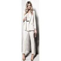 White Womens Business Suits Double Breasted 2 Piece Set Women Tuxedo Female Office Uniform Elegant Pant