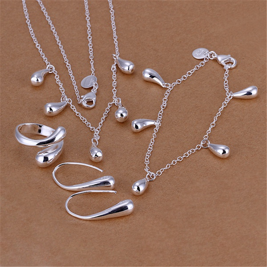 Hot silver plated jewelry set fashion classic female charm water drops pendant necklace bracelets ring earrings S218