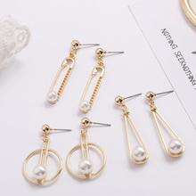 Fashion Geometric Pattern Pearl Earrings Irregular Freshwater Jewelry Personality Simple Hair Accessories
