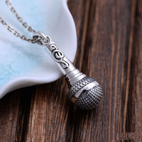 MetJakt Punk 925 Sterling Silver Microphone Pendant for Necklace & Fashion Men's Jewelry