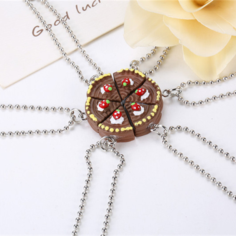 New Arrive 6 Parts Round Happy Birthday Chocolate Cake Best Friends Resin Pendant Necklaces Friendship BFF Jewelry image