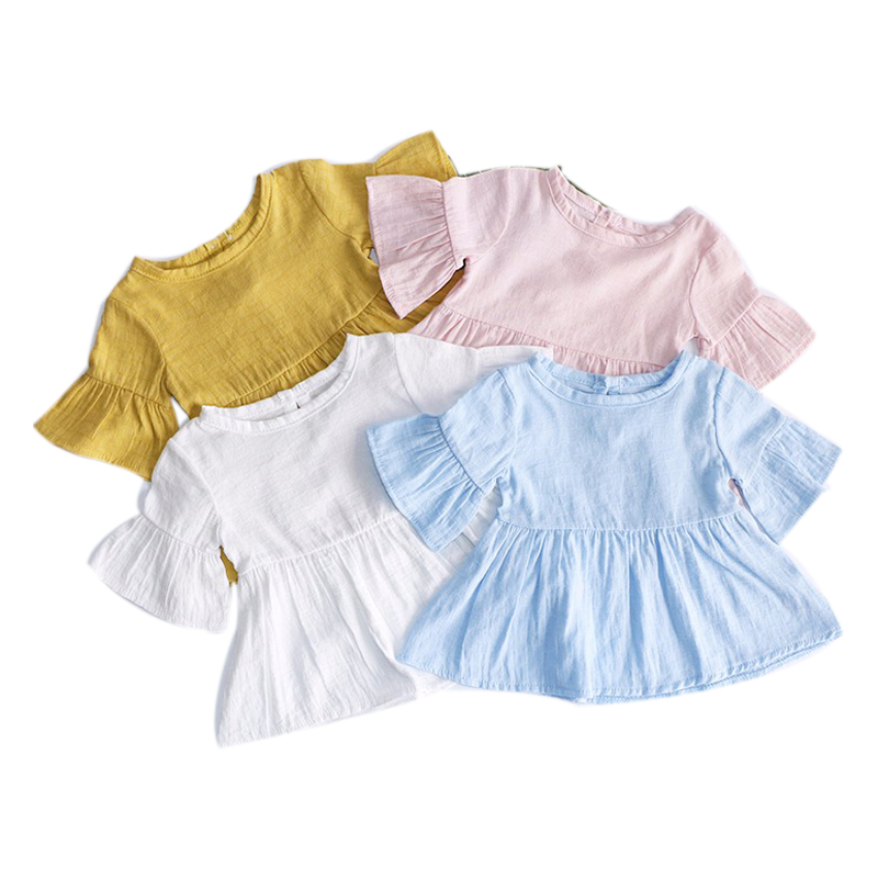 Flaer Sleeve Spring Summer Girls Blouses Tops Cotton Casual Kids Girl Shirts For Children Clothing Shirts Dress