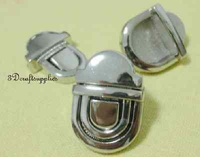 purse lock wallet Thumb latch tongue clasp silver 1 inch x 3/4 inch E53
