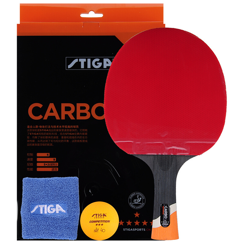 STIGA 6 Star Carbon (Ship in Original Box) Table Tennis Racket (6-Star Level, Gift Set) with Rubber + Wristband + Ball Set original stiga carbo 7 6 cr wrb table tennis blade