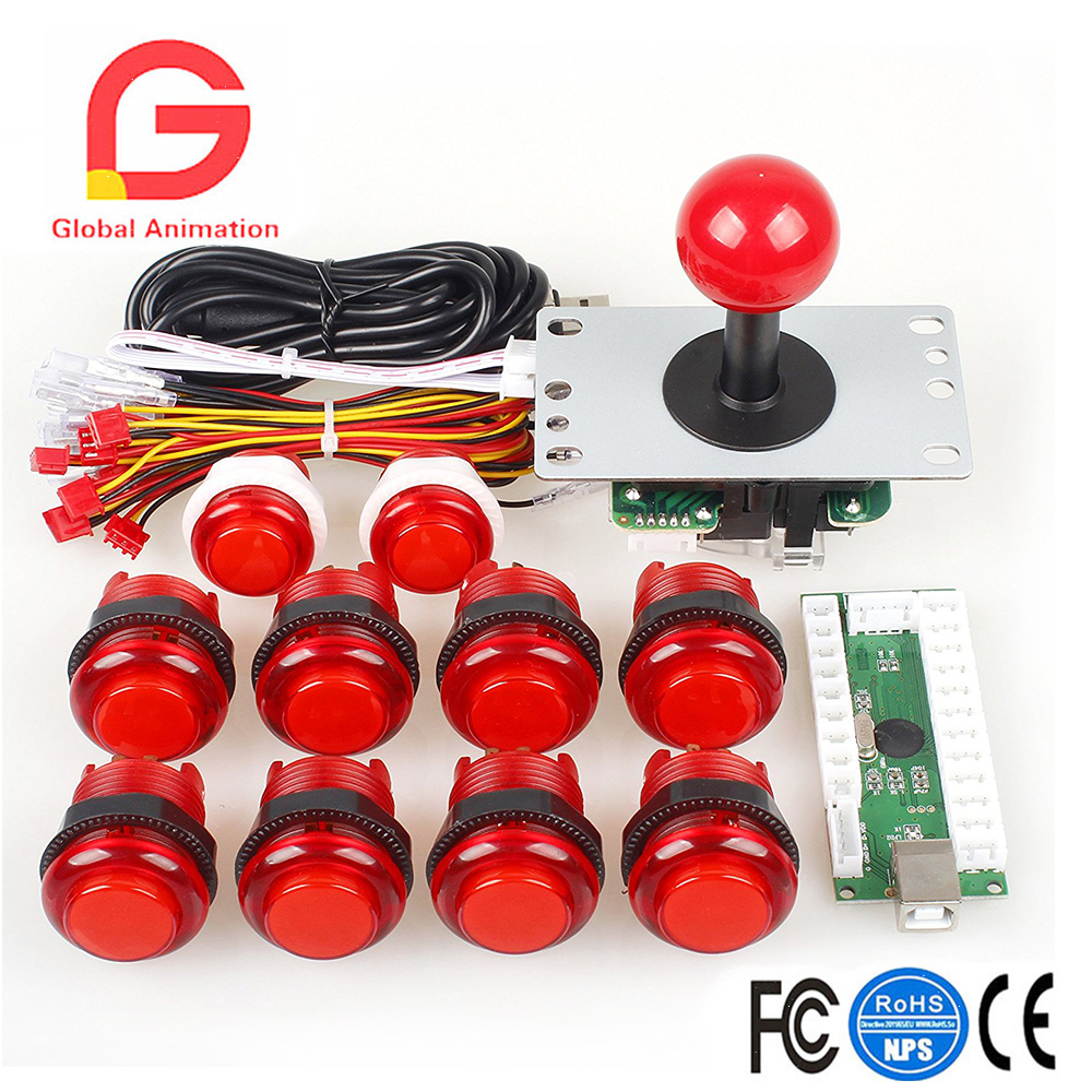 Classic Arcade Games Cabinet Kit USB Encoder To PC Joystick Handle + 5V LED Lights Push Buttons For Arcade PC Game DIY Project