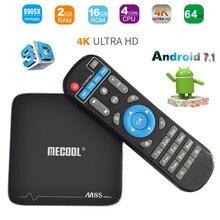 MECOOL M8S PRO + Android 7.1 Quad-core Smart TV BOX 2G Ram 16G Flash Entièrement Chargé Internet Médias Banderoles H.265 4 K lecteur