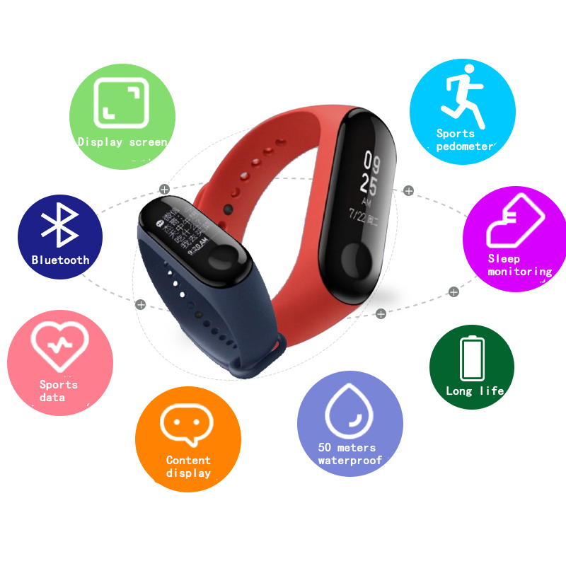 Xiaomi Mi Band 3 Band 3 Smart Wristband IN STOCK 2018 New Original Xiaomi Mi Band 3 Smart Bracelet 078 inch OLED Message