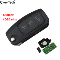 OkeyTech 4D60 Chip 3 Button Flip Folding Remote Smart Car Key 433Mhz For Ford Focus Mondeo