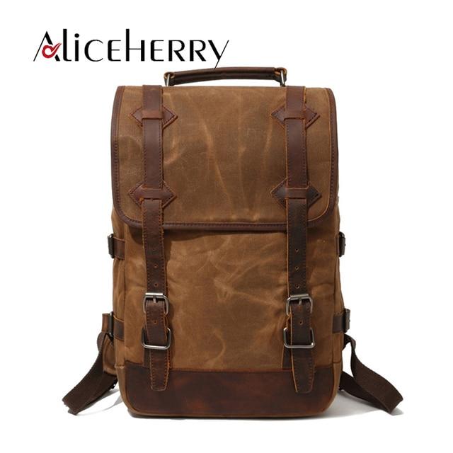 4656c00c043 Famous Brand Vintage Women Canvas Leather Backpacks Classic Men Big Backpack  for Teens Laptop Bag Casual School Shoulder Bags