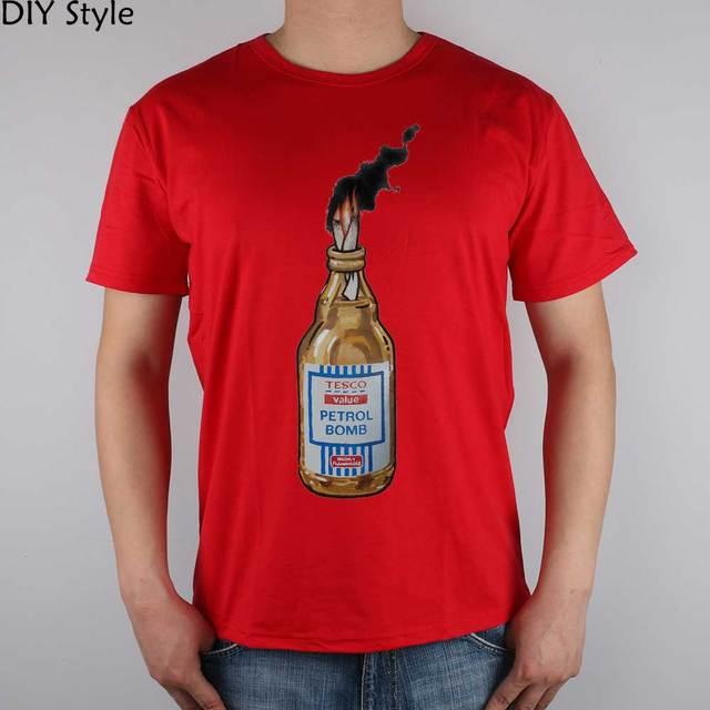 2f5f1faea6d8c0 BANKSY TESCO Street art Molotov cocktails T-shirt Top Lycra Cotton Men T  shirt New Design High Quality Digital Inkjet Printing