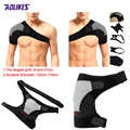 Aolikes Adjustable Breathable Gym Sports Care Single Shoulder Support Back Brace Guard Strap Wrap Belt Band Pads Black Bandage