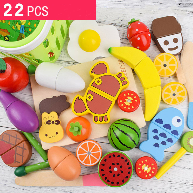 Wooden Magnetic Kitchen Toys Pretend Play Cutting Food Sets Simulation Vegetables Fruits