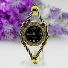New! Quartz Wrist Watch Bracelet Metal Hand Strap Watches Ladies Good Reward Golden with Rhinestone 5KZX