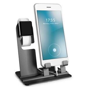 Image 1 - Bureau Telefoon Houder, Voor Apple Horloge Stand 3 In 1 Telefoon Houder Lading Dock Station, tafel Base Voor Iphonex/8/7/6/Ipad Mobiele Ondersteuning
