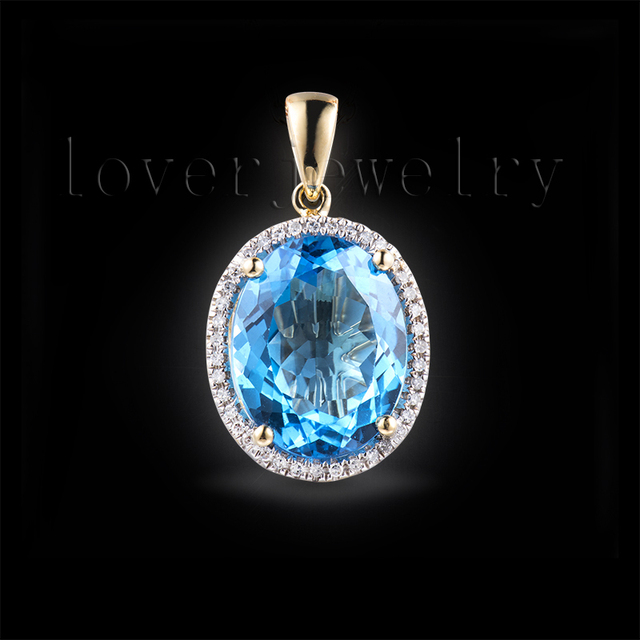 Solid 18Kt Yellow Gold Blue Topaz Pendant,Oval 12x15mm Bule Topaz Diamond Penadnt For Wedding,Engage E0003