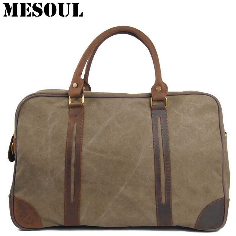 Luggage Travel Bags Vintage Military Canvas Leather Men Travel Bag Designer Handbag Tote Duffel bags large weekend Bag Overnight mybrandoriginal travel totes wax canvas men travel bag men s large capacity travel bags vintage tote weekend travel bag b102