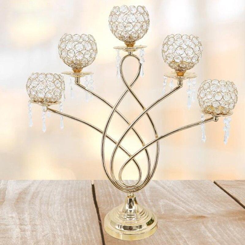 Europe bougeoir Table cristal chandelier géométrique 5 têtes romantique décorations de noël pour la maison candélabre 3DZT122
