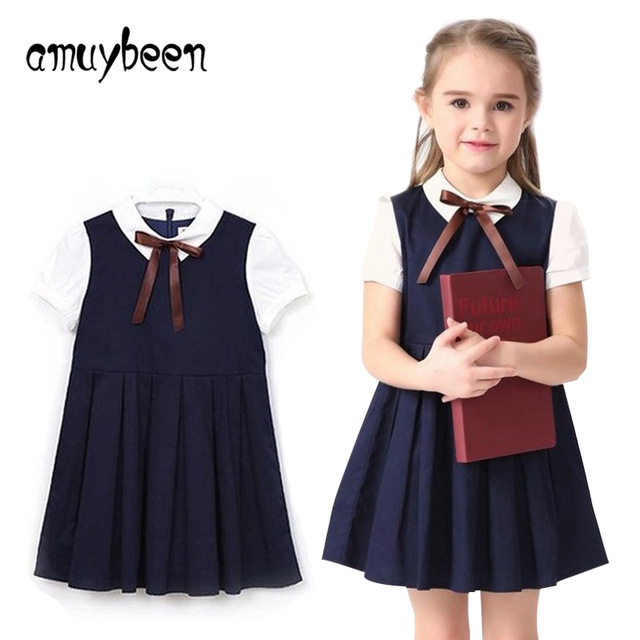4c82d6f4ec Amuybeen 2017 Summer Blue Cotton Short Sleeve Pleated Kids School Uniform  Dress for Girls 8 10 12 Years Teenage Girls Clothing