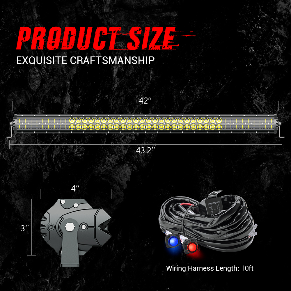 MICTUNING Magical M1s 42'' Aerodynamic Auto LED Light Bar 22680LM Off Road Driving Work Bulb w/ Wiring Harness & Atmosphere Lamp