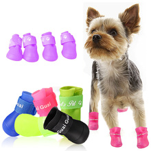 4pcs Dog  Shoes Silicone Candy Colors Waterproof Boots Anti Slip Skid Design Teddy Rain Rubber Pet Booties