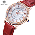 Top Brand WWOOR Genuine Leather Diamond Luxury Dress Watch Ladies Casual Quartz Watch Women Watches Rose Gold Clock montre femme