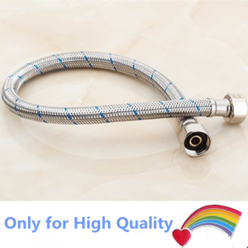 50CM braided flexiable stainless steel Water Pipes pressure resistance explosion-proof sink hot cold connection soft hose 2pcs 3 4 female bsp 304 stainless steel high voltage explosion proof corrugated pipe hard tube inlet outlet cold hot water 10cm 80cm