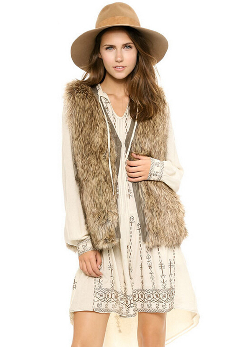 ee5b051c345 XS 2XL Woman faux fur vest Pu leather trim sleeveless stealth buckle  Fashion V neck Fur waistcoat vest for female-in Vests   Waistcoats from  Women s ...