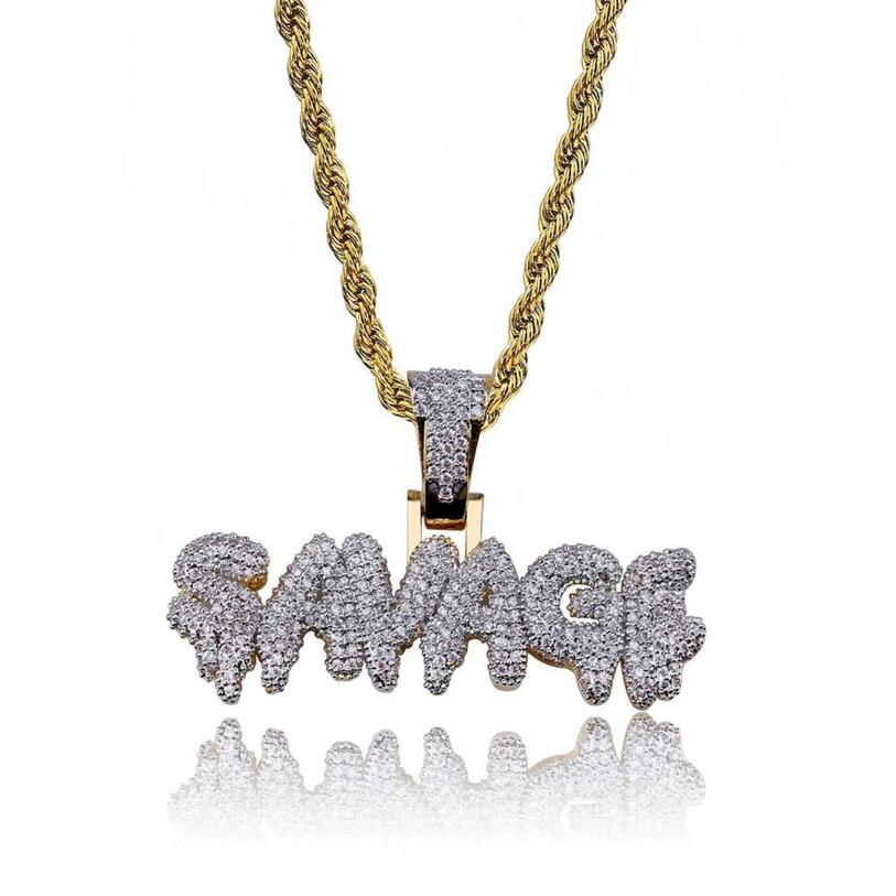 Men's Iced Out SAVAGE Pendant Necklace Gold Color Micro Pave AAA Cubic Zircon Bling Bling Hip Hop Gold Chain Jewelry Gifts