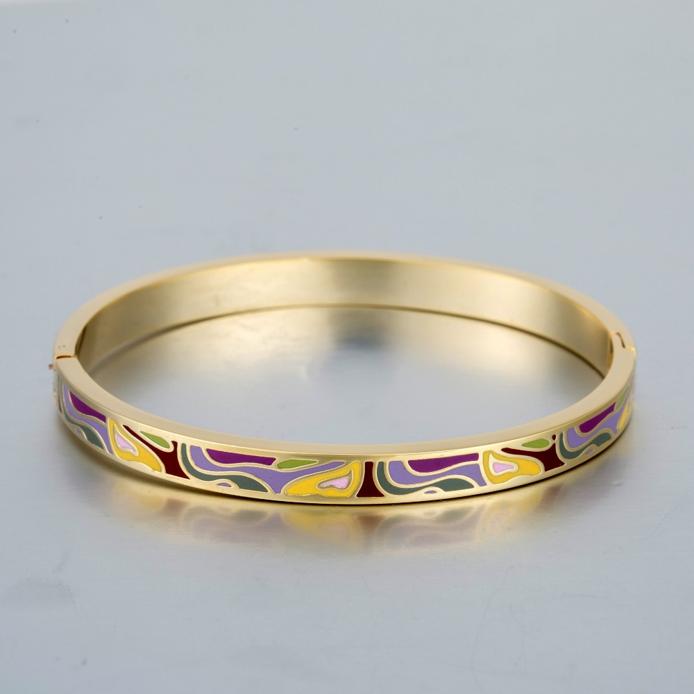 New Ethnic Colorful Wave Enamel Bangle Stainless Steel Wristlet Cuff Circlet Pulseras Feminina Cordao Braslet 6mm